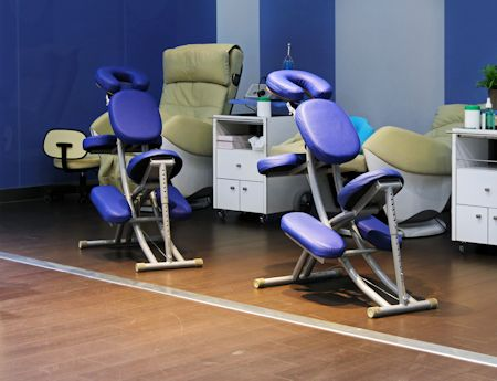 Several chairs for massage in wellness salon