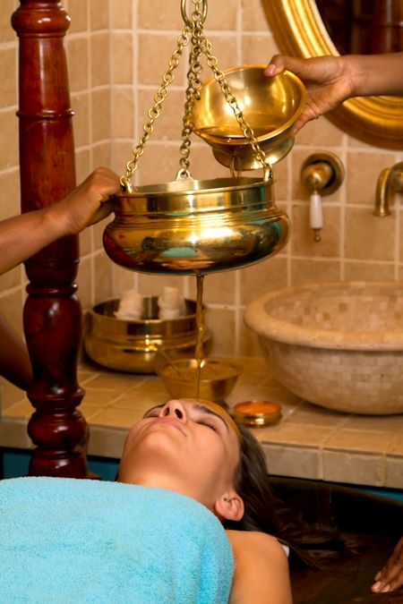 Indian ayurvedic oil head massage