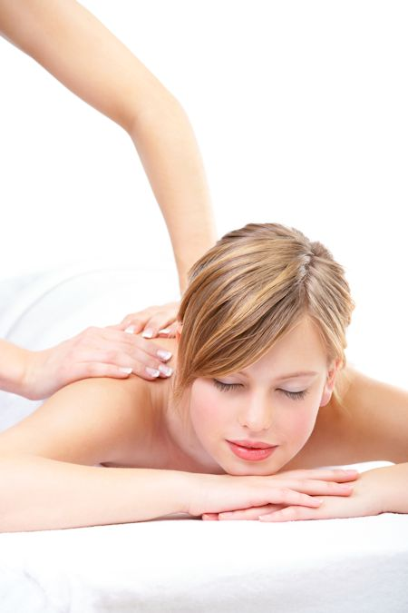 Young woman receiving Relaxation massage