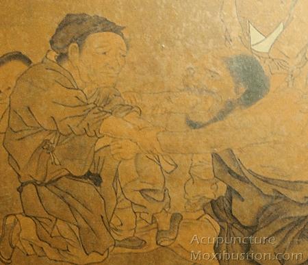 Ancient man giving arm massage