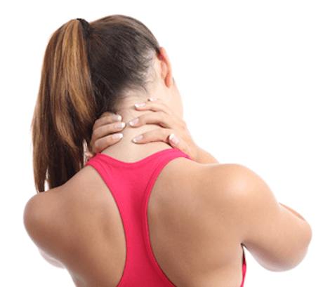 Young woman with pink sports wear having neck pain and discomfort